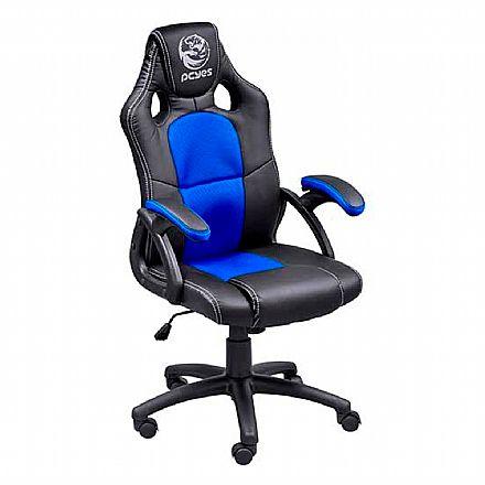 Cadeiras - Cadeira Gamer PCYes MAD Racer V6 - Mecanismo de Inclinação - MADV6AZ - Preto e Azul