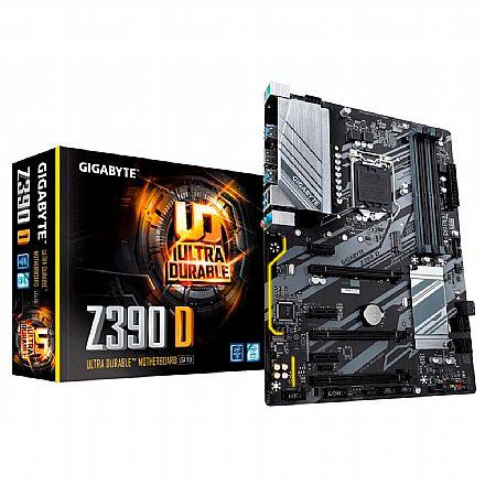 Placa Mãe para Intel - Gigabyte Z390 D (LGA 1151 - DDR4 4266 O.C) - Chipset Intel Z390 - 8ª e 9ª Geração - Slot M.2 - ATX