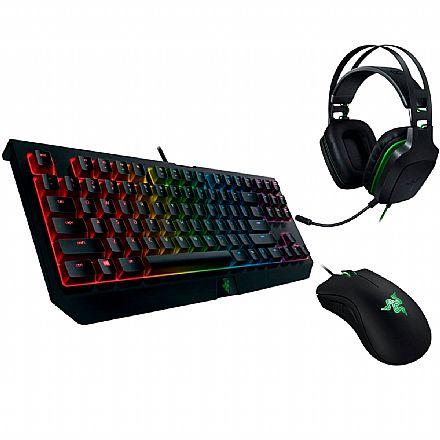 Kit Teclado e Mouse - Kit Gamer Razer - Teclado Mecânico  Blackwidow Tournament V2 Chroma + Mouse Deathadder Essential + Headset Electra V2