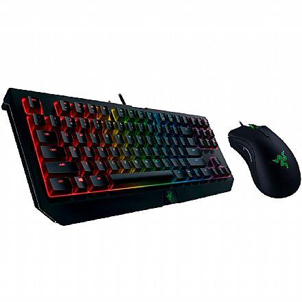Kit Teclado e Mouse - Kit Gamer Razer - Teclado Mecânico Blackwidow Tournament V2 Chroma + Mouse Deathadder Elite