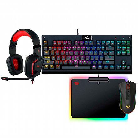 Kit Teclado e Mouse - Kit Gamer Redragon - Teclado Mecânico Dark Avenger RGB + Mouse Cobra Chroma + Headset Muses 7.1 + Mouse Pad Epeius RGB