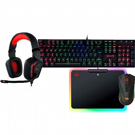 Kit Teclado e Mouse - Kit Gamer Redragon - Teclado Mecânico Mitra RGB + Mouse Cobra Chroma + Headset Muses 7.1 + Mouse Pad Epeius RGB