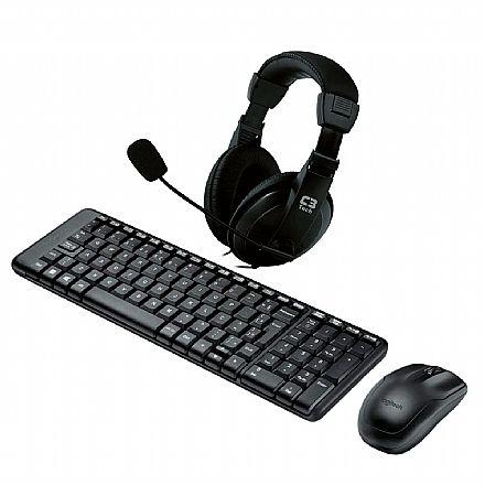 Kit Teclado e Mouse - Kit Home Office Logitech sem Fio – Teclado e Mouse sem Fio MK220 + Headset C3 Tech Voicer Comfort