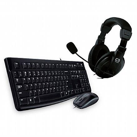 Kit Teclado e Mouse - Kit Home Office Logitech – Teclado e Mouse sem Fio MK120 + Headset C3 Tech Voicer Comfort