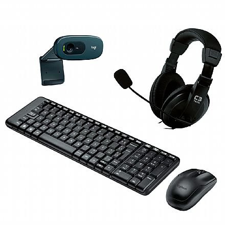 Kit Teclado e Mouse - Kit Home Office Logitech Video Meeting sem Fio – Teclado e Mouse sem Fio MK220 + Headset C3 Tech Voicer Comfort + Webcam C270