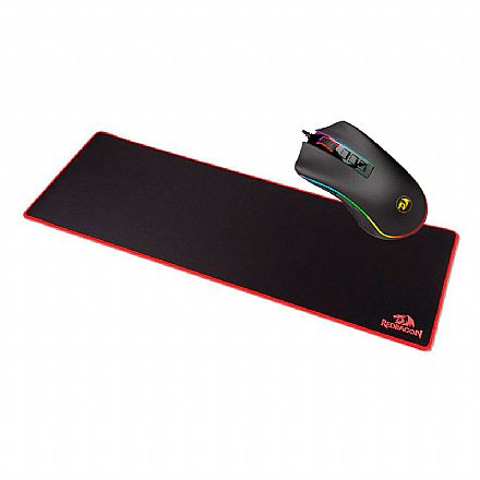 Kit Teclado e Mouse - Kit Gamer Redragon - Mouse Cobra Chroma + Mouse Pad Suzaku Extended