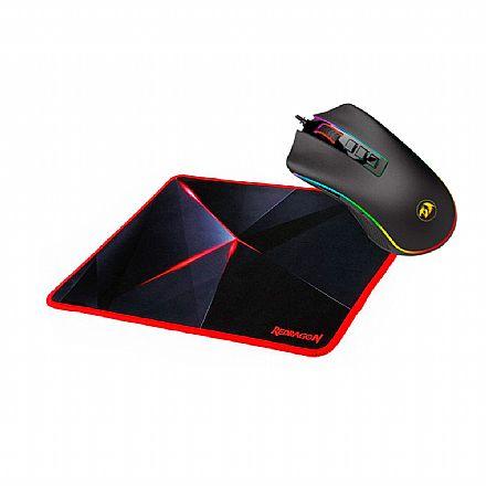 Kit Teclado e Mouse - Kit Gamer Redragon - Mouse Cobra Chroma + Mouse Pad Capricorn Medium