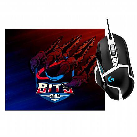 Kit Teclado e Mouse - Kit Gamer Logitech -  Mouse G502 Hero SE +  Mouse Pad Bits Raptor Grande