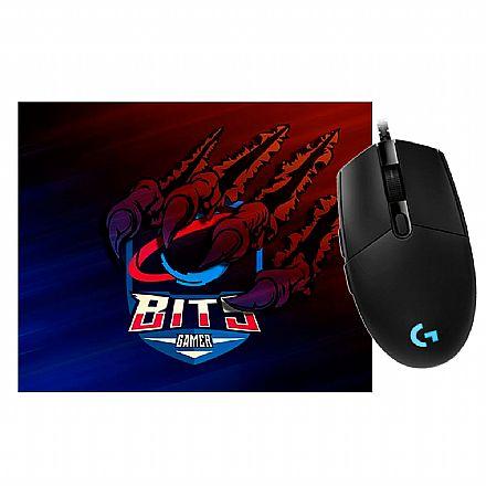 Kit Teclado e Mouse - Kit Gamer Logitech -  Mouse G203 Prodigy +  Mouse Pad Bits Raptor Grande