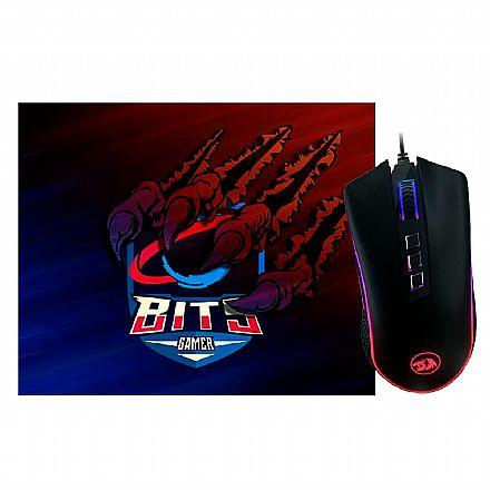 Kit Teclado e Mouse - Kit Gamer Redragon -  Mouse  King Cobra Chroma +  Mouse Pad Bits Raptor Grande