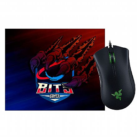 Kit Teclado e Mouse - Kit Gamer Razer -  Mouse Deathadder Elite +  Mouse Pad Bits Raptor Grande