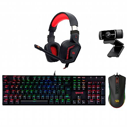 Kit Teclado e Mouse - Kit Gamer Redragon - Teclado Mecânico Dark Avenger RGB + Mouse Cobra Chroma + Headset Muses 7.1 + Webcam Logitech C922 Pro