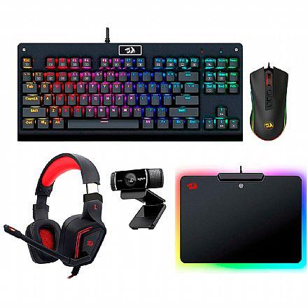 Kit Teclado e Mouse - Kit Gamer Redragon - Teclado Mecânico Dark Avenger RGB + Mouse Cobra Chroma + Headset Muses 7.1 + Mouse Pad Epeius RGB + Webcam Logitech C922 Pro