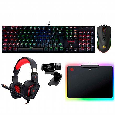 Kit Teclado e Mouse - Kit Gamer Redragon - Teclado Mecânico Mitra RGB + Mouse Cobra Chroma + Headset Muses 7.1 + Mouse Pad Epeius RGB + Webcam Logitech C922 Pro