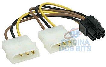 Placa de Vídeo - Cabo Adaptador Energia 4 Pinos Molex para VGA de 6 pinos