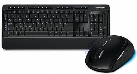 Kit Teclado e Mouse - Kit Teclado e Mouse sem Fio Microsoft Desktop 3000 - BlueTrack Technology® - MFC-00006