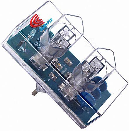 Protetor Contra Raios Clamper Energia com 2 Tomadas - Bivolt - Transparente - 9368