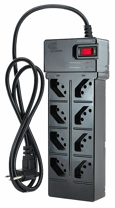 Filtro de linha 8 tomadas Clamper Energia 8 - Protetor de Surto e Raios - Bivolt - Preto - DPS 9369