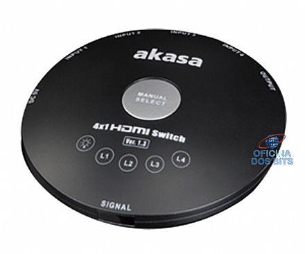 Switch HDMI com 4 Entradas - com Controle Remoto - Akasa AK-MX015
