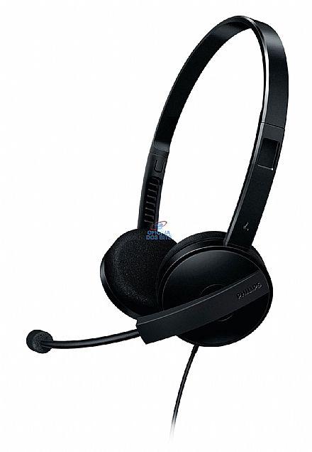 Headset Philips SHM3550/10 - com microfone - Preto - Haste Rotacional e Cancelamento de Ruído