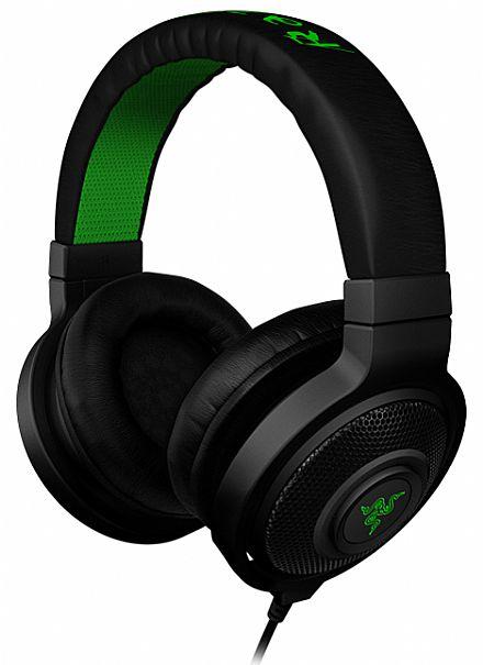 Headset Razer Kraken Black - preto e verde - RZ12-00870200-R3U1