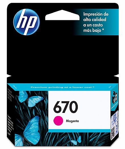 Cartucho HP 670 Magenta - CZ115AB - Para HP 4625 / 4615 / 5525 / 3525