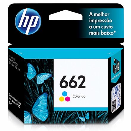 Cartucho HP 662 Colorido - CZ104AB - Para Deskjet 1515 / 1516 / 2545 / 2546 / 2646 / 3546 / 4646