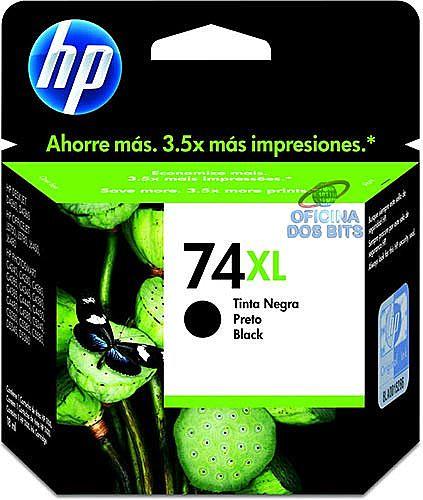 Cartucho HP 74XL Preto de alto rendimento - CB336WB - 20ml - para HP Deskjet D4260 / 4360 / Photosmart C4280 / C4385 / C4480 / C5280 / C5360 / Officejet J5780 / J6480