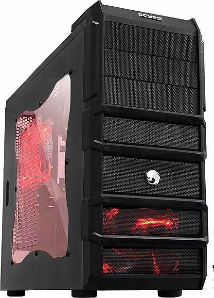 Gabinete Gamer Pcyes Rhino - Janela Lateral em Acrílico - Cooler Led Vermelho - USB 3.0 e Audio Frontal
