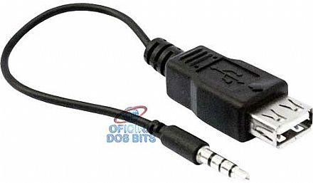 Cabo Conversor P2 3,5mm para USB Fêmea - 17cm - CB0121
