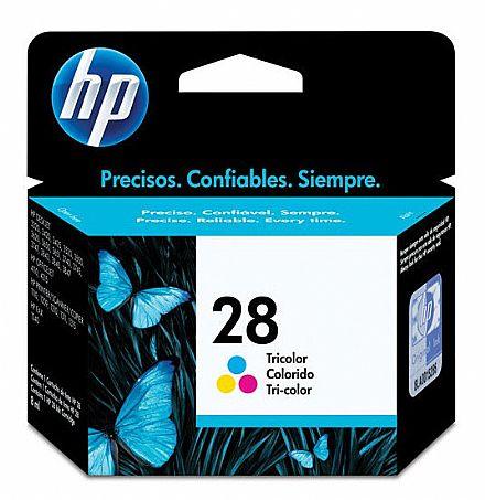 Cartucho HP 28 Colorido - C8728AB - para 1110/ 1215/ 1315/ 2110/ 2150/ 2210/ 3320/ 3420/ 3450/ 3535/ 3550/ 3620/ 3650/ 3740/ 3840/ 4110/ 4115/ 4215/ 5150/ 5160/ 5460/ 5650/ 5850/ 6110