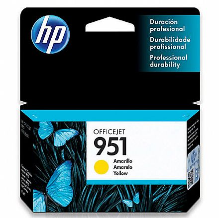 Cartucho HP 951 Amarelo - CN052AB - Para HP 251DW, 276DW, N811, 8600, 8600Plus, 8610, 8620