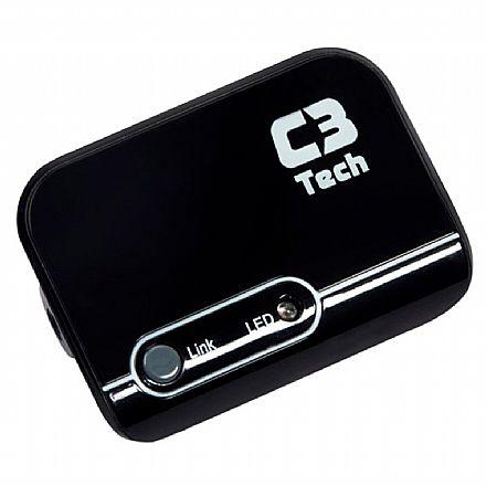 Receptor de Áudio Bluetooth C3Tech RB-084 - para Carros, Tablets, Smartphones - Preto
