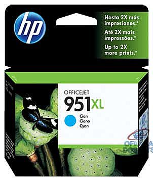 Cartucho HP 951XL Ciano - CN046AB - Para HP 251DW, 276DW, N811, 8600, 8600Plus, 8610, 8620