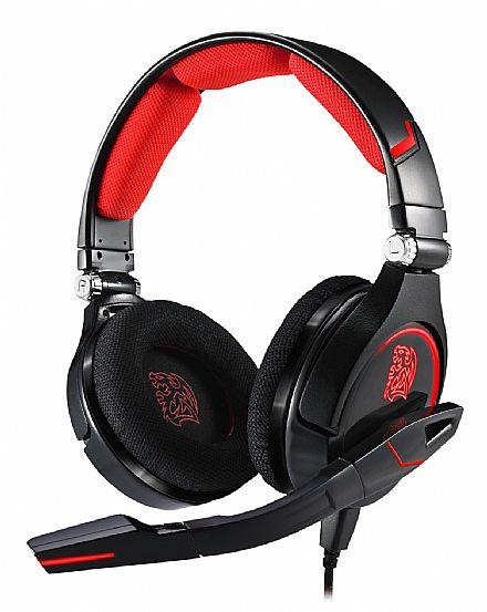 Headset Thermaltake Sports Cronos Gaming - com controle de volume e microfone - Conector P2 3.5mm e alimentação USB - HT-CRO008ECBL