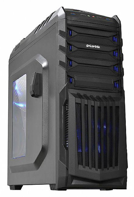 Gabinete Pcyes Tiger Gamer Preto - com LED Azul - Janela Lateral em Acrílico - Filtro de Poeira - USB 3.0