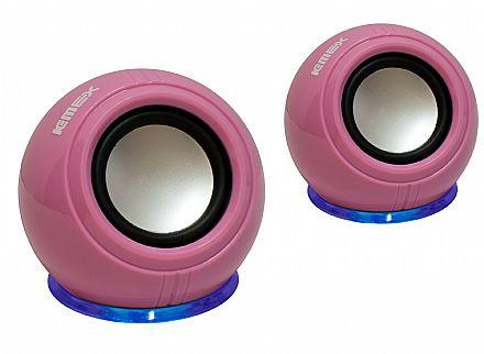 Caixa de Som K-Mex SP-U940 - Efeito com LED Azul - 3W RMS - Rosa