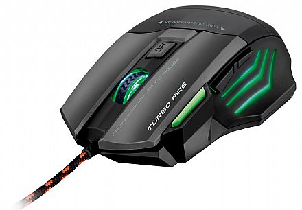 Mouse Gamer Multilaser Metal War - 3200dpi - 7 botões - USB - MO207