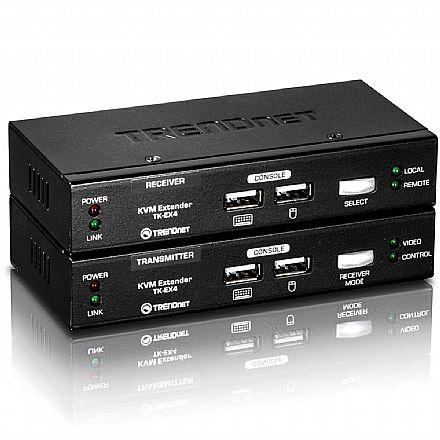 Kit extensor KVM TrendNet TK-EX4 - USB - via Cabo de Rede - Estenda teclado, mouse e monitor em distâncias de até 100 metros