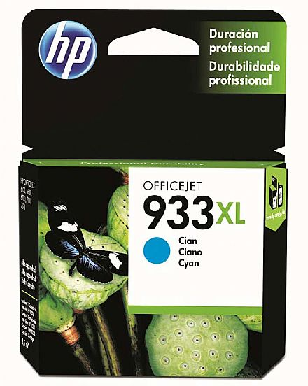 Cartucho HP 933 XL Ciano - CN054AL - Para HP Officejet 7110 / 7610 / 7612