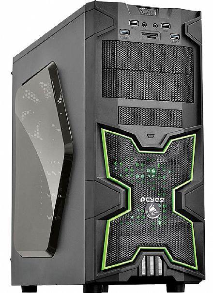 Gabinete PCYes Gamer Fox - Janela Lateral em Acrílico - com LED Verde - sem fonte