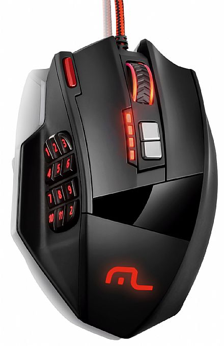 Mouse Gamer Multilaser MO206 - 4000dpi - 18 botões - com LED Personalizável