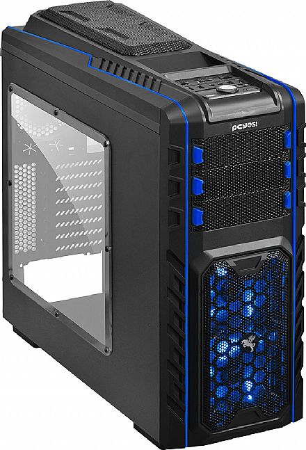 Gabinete PCYes Pegasus - com Controlador de Fan - USB 3.0 - LED Azul