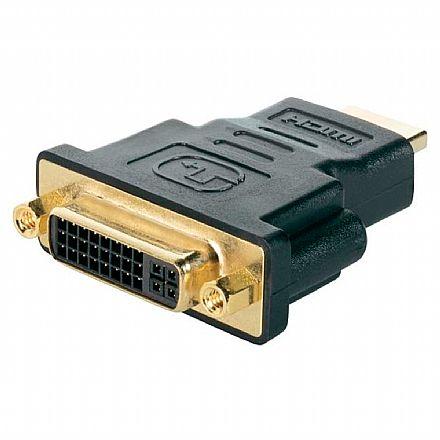 Adaptador Conversor HDMI para DVI-I - Dual Link - 24+5 Pinos (HDMI M X DVI-I F)