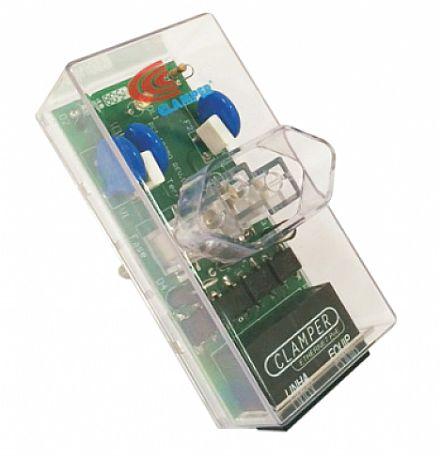 Protetor Contra Raios Clamper Ethernet RJ45 2P+T - até 100Mbps - Transparente - 10746