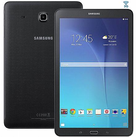 """Tablet Samsung Galaxy Tab E T561M 3G - Tela 9.6"""", Android, Wi-Fi, 8GB, Quad-Core - SM-T561M - Preto"""