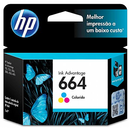 Cartucho HP 664 Colorido - F6V28AB - Para DeskJet 2136 / 3636 / 3836 / 4536 / 4676