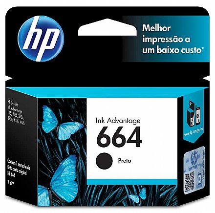 Cartucho HP 664 Preto - F6V29AB - Para DeskJet 1115 / 2136 / 3636 / 3836 / 4536 / 4676