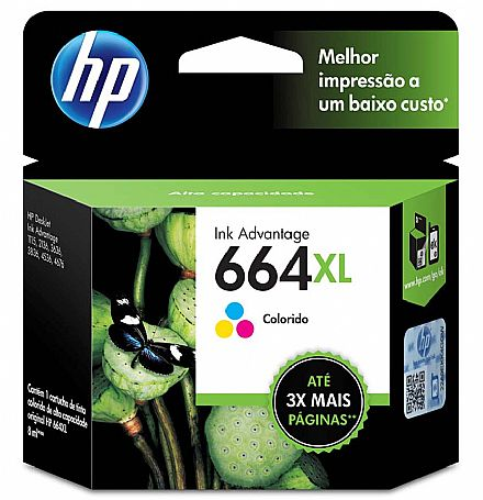 Cartucho HP 664XL Colorido - F6V30AB - DeskJet 1115 / 2136 / 3636 / 3836 / 4536 / 4676