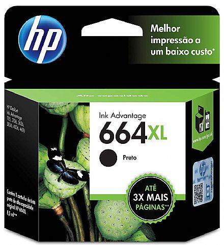 Cartucho HP 664XL Preto - F6V31AB - Para DeskJet 1115 / 2136 / 3636 / 3836 / 4536 / 4676